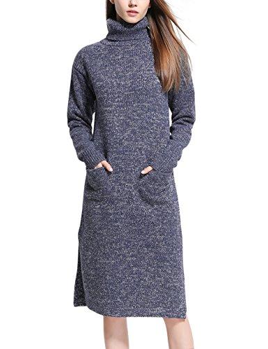 Rocorose Women's Turtleneck Loose Fit Side Slit High-low Hem Sweater Dress Blue M