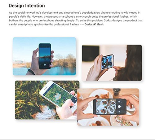 Godox A1 Smartphone Flash 6000K Flash Speedlite w/5600K LED Modeling Lamp OLED Display 2.4G Wireless X System Support Phone APP Remote Control Master Slave Functions for iPhone 7/7 plus/6s/6s plus