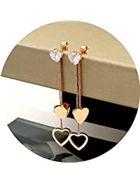Titanium Steel Rose Gold Plated Hollow Heart Shape Tassel Cubic Zircon Ear Stud Dangle Earrings