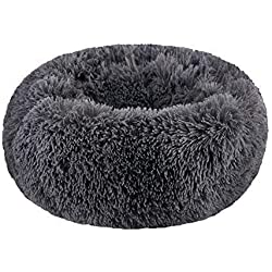 "WonderKathy Modern Soft Plush Round Pet Bed for Cats or Small Dogs, Mini Medium Sized Dog Cat Bed Self Warming Autumn Winter Indoor Snooze Sleeping Cozy Kitty Teddy Kennel (M(23.6""Dx7.9""H), Dark Grey)"