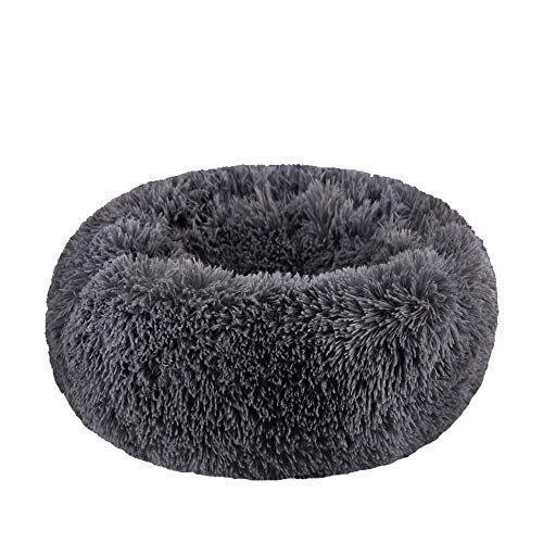 WonderKathy Modern Soft Plush Round Pet Bed for Cats or Small Dogs, Mini Medium Sized Dog Cat Bed Self Warming Autumn Winter Indoor Snooze Sleeping Cozy Kitty Teddy Kennel (M(23.6″Dx7.9″H), Dark Grey)
