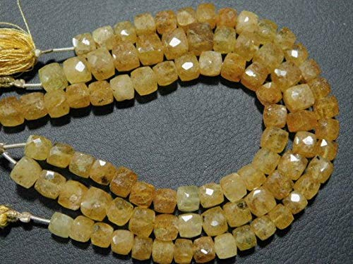 - JP_BEADS Heliodor Faceted Cube Briolette- 8