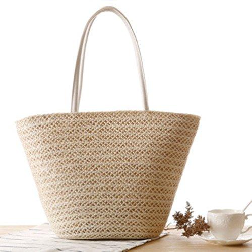 Shopper Beige Bags Beach Youjia Shoulder Womens Totes 7 Flower Straw Handbag Boho q0CUaxP