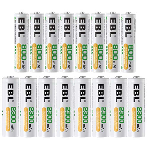EBL 16 Sets AA AAA Batteries Combo with 8PCS AA 2300mAh & 8-