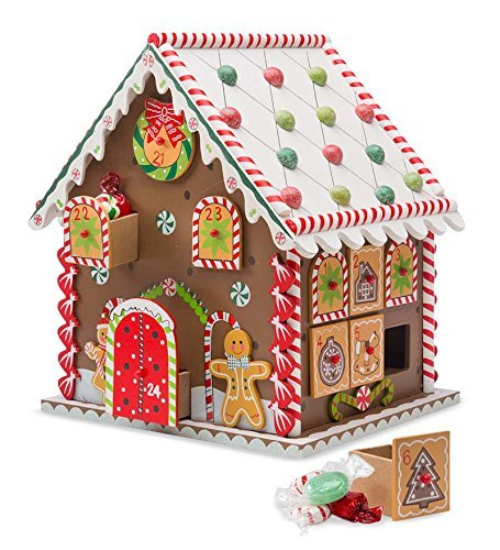 Wooden Gingerbread House Countdown to Christmas Advent Calendar 10.5 x 8 x 9.5 H HearthSong 730067