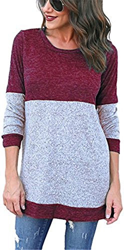 Sweater Femme Atomene Rond Hiver et Multicolores Pullover Rayures mode Pullover Col YOGLY longues Casual Grande Top Manches Tricots Rouge taille tqdS6xwx