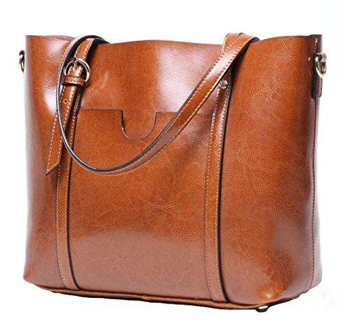 CLELO Women's Tote Bag Vintage Genuine Leather Purse Shoulder Bag Large Brown