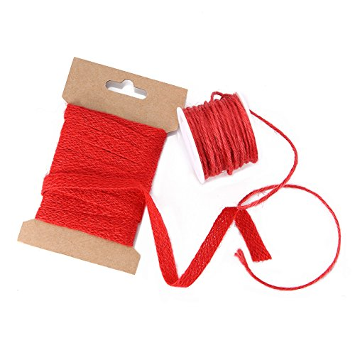 Neotrims 100% Natural Jute 10Mm Ribbon Trim & 2Mm Cord String,18 Fashion Colours. Matching Colours, Sold Separate Or As Combo,Crafts Decoration Jewellery Making, 20Mts,2Mm Black Cord 5mts-Poppy Red
