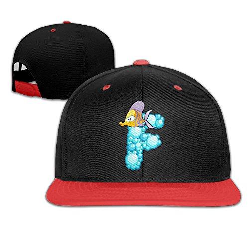 ZOENA Ocean Fish Alphabet F Cartoon Hip-Hop Cotton Hats Sports Snapback Cap Red