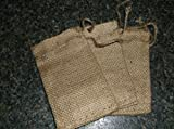 Three Burlap Sacks with Drawstrings for Potpourri, Three Inch by Five Inch