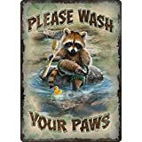Rivers Edge Products Wash Your Paws Tin Sign