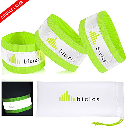 3 The Most Reflective Bands -  1 for Running Gear, Cycling and Hiking - Extra Reflective Area as Wrist Bands, Arm Bands or Ankle Straps - Unique Eco Design by Bicics