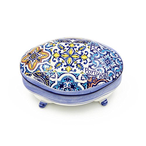 Alcoa Arte Hand-painted Decorative Traditional Portuguese Ceramic Footed Jewelry Box ()
