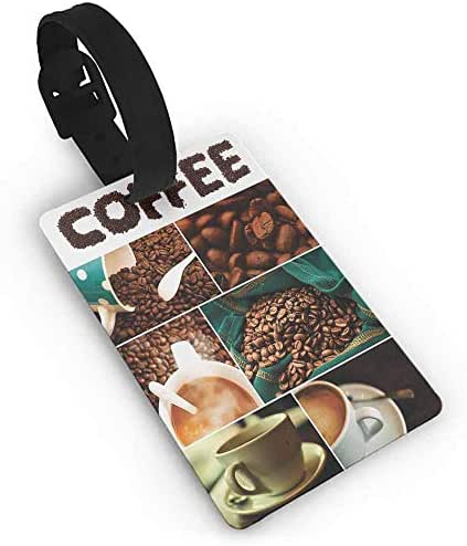 Luggage tag,Coffee,Photo Collage of Urban Coffee House Preparing the Drink Relaxing with a Cup of Joe,One Size Travel Accessories Multicolor