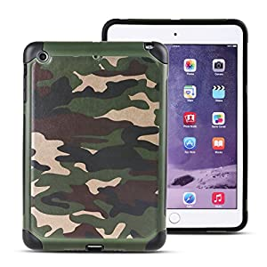 MAKEIT CASE iPad Mini Case, iPad Mini 2 3 Case [Camouflage Pattern] Pc+tpu Dual Layer Hybrid Protected Hard Case Cover for iPad Mini 1/2/3 (Army green)