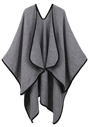 (Andorra Women's Vintage Soft Merino Wool Kimono Wrap Cardigan Ruanas w/Tassels (Charcoal Grey))