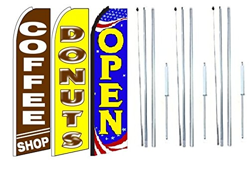 Pack of 3 Coffee Shop Donuts Open King Swooper Feather Flag Sign Kit with Complete Hybrid Pole Set