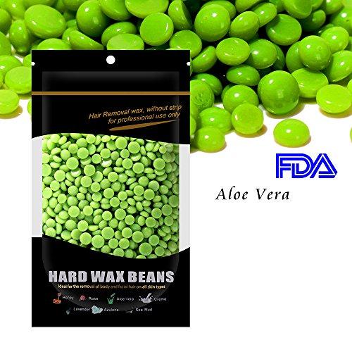 Waxkiss 100g Hard Pearl Wax Beans Hair Removal Wax for Woman & Man (Aloe (Aloe Vera Wax)