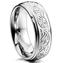 Silver Tone 7mm Stainless Steel Ring, Florentine Design