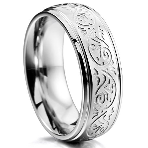 MOWOM Silver Tone 7mm Stainless Steel Ring Band Engraved Florentine Design