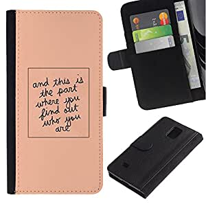 Billetera de Cuero Caso Titular de la tarjeta Carcasa Funda para Samsung Galaxy Note 4 SM-N910 / Quote Peach Minimalist Text / STRONG