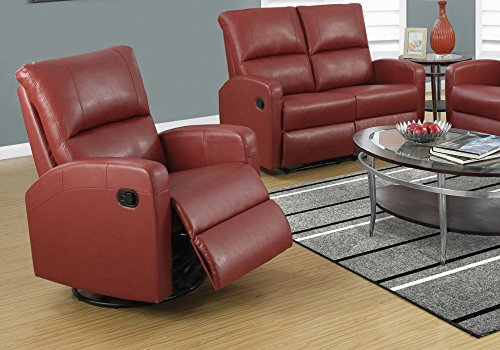 Full Leather Swivel Glider Recliner (Monarch Swivel Glider Recliner, Red)