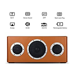 [Apple MFI Certified] GGMM M4 Leather Wireless Wi-Fi/Bluetooth/Multi-Room Play Speaker w/Rechargeable Battery & Removable Strap, Perfect for Home Party, Backyard BBQ, Featuring Airplay, DLNA, Spotify