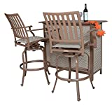 Panama Jack Outdoor Island Breeze 3-Piece Slatted Bar Table Set, Includes 2 Swivel 30-Inch Barstools and Bar Table