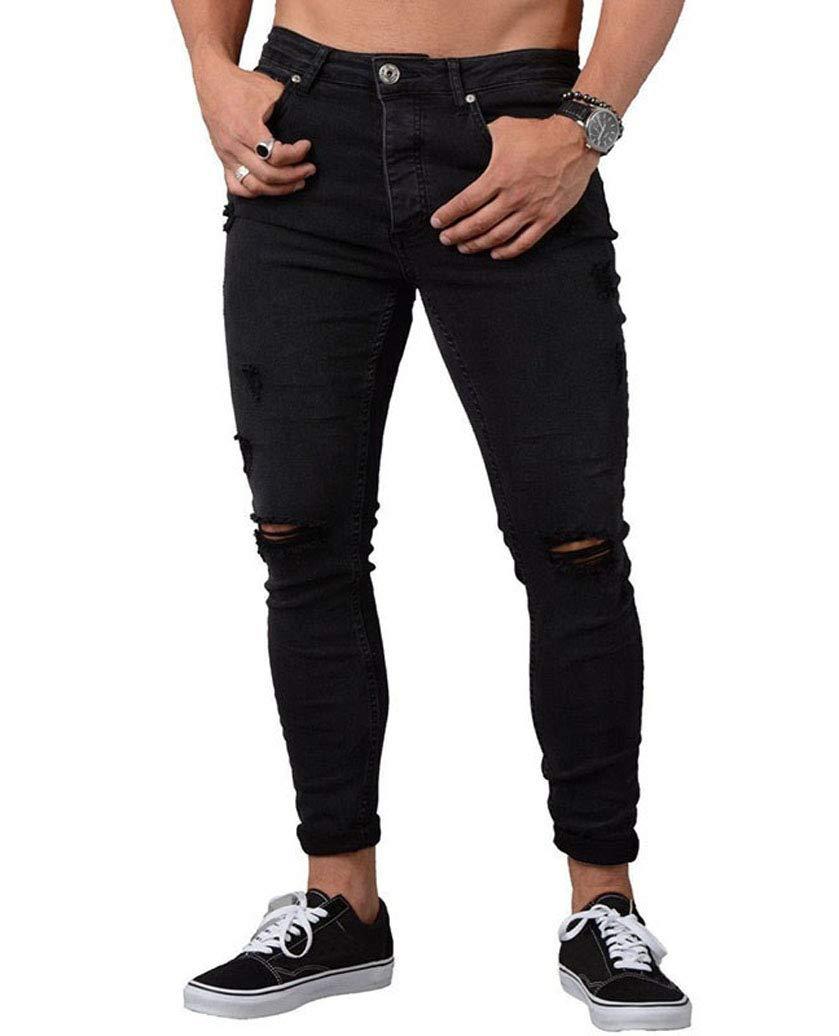 Men's Ripped Skinny Distressed Destroyed Slim Fit Stretch Tapered Leg Jeans Denim Pants Holes (3XL, Black)