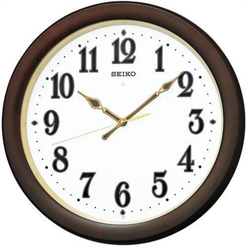セイコー クロック 掛け時計 自動点灯 電波 アナログ 夜でも見える 木枠 濃茶 木地 KX338B SEIKO B002VUBCOU