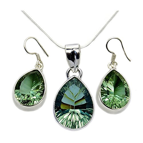 (Incredible Sterling Silver Lab Created Color Change Alexandrite Pendant Necklace And Earrings Set)
