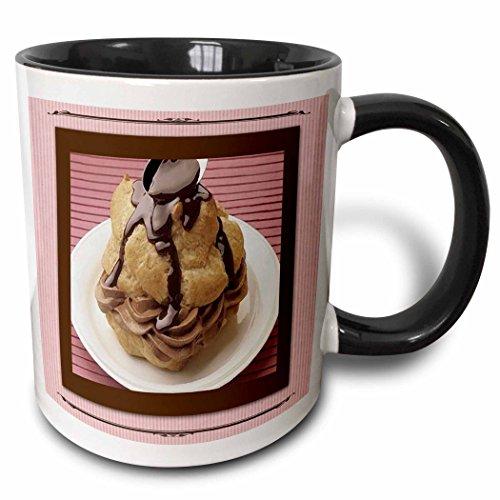 - 3dRose 14834_4 Chocolate Mousse Cream Puff - Two Tone Black Mug, 11 oz, Multicolor