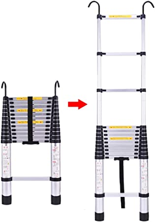 FF Escaleras Telescópicas Multifunción Escalera Telescópica Plegable de Extensión de 6.9 pies con Gancho, Escalera Loft Extensible y Subida Telescópica de Aluminio Ligero, Capacidad de 330 LB: Amazon.es: Hogar