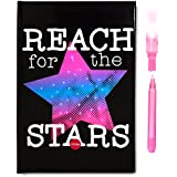 SmitCo LLC Journal For Girls - Diary Notebook - Light-Up Reach For The Stars With 80 Blank Lined Pages And An Invisible Ink Pen With Blue Light To Keep Her Secrets Safe - For Kids 5 Years And Over