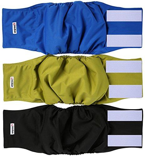 wegreeco Washable Male Dog Belly Wrap - Pack of 3 - (Black,Blue,Olive,Large)