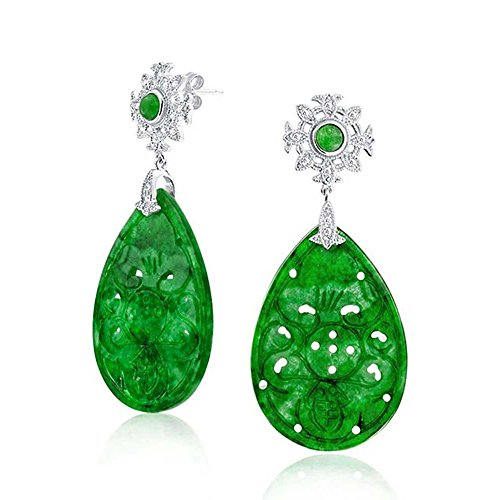 Asian Style Fashion Carved Dyed Green Jade CZ Large Teardrop Dangle Earrings For Women 925 Sterling Silver