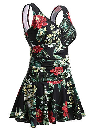 MiYang Women's Plus-Size Flower Printing Shaping Body One Piece Swim Dresses Swimsuit XX-Large(US Size:18W-20W) ()
