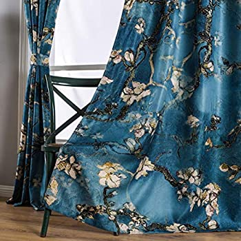 Taisier Home Chinese Style Plum Blossom Curtain Artistic Print Curtains 63 Inches Long for Living Room,Personalized Pattern Curtains Bedroom Window Treatment Curtains 2 Panels Set
