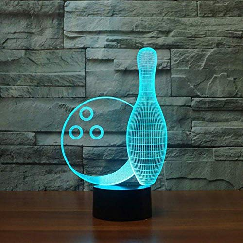YKL WORLD Bowling Night Light 3D Illusion Lamp LED Touch Lamp Dimmable 7 Colors Changing USB Powered Desk Table Lamp Kids Decor for Christmas Bedroom Boys Sports Lovers -