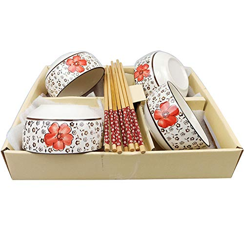 Ceramic Rice/Soup Bowls and Chopsticks set of 4, Japanese Cherry Blossom Style Small Rice Bowls Set