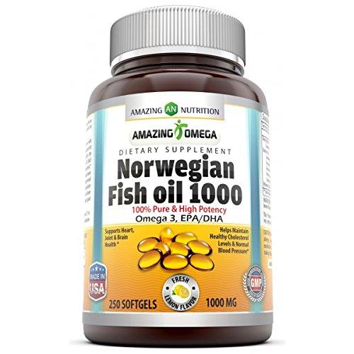 Amazing Omega Norwegian Fish Oil - 1000 Mg, Softgels - Supports anti-inflammatory, heart, joint & brain health (Lemon, 250 Softgels)