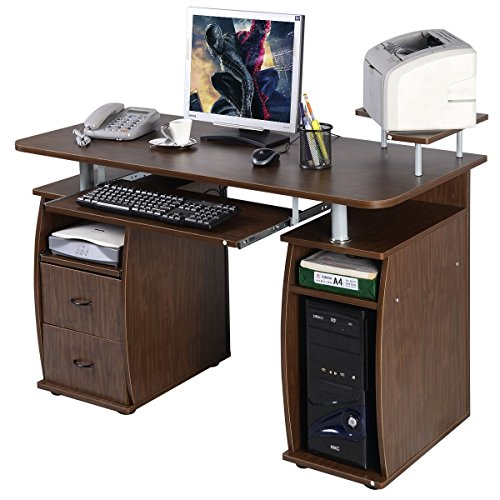 Gracelvoe Computer PC Desk Work Station Office Home Monitor&Printer Shelf Furniture (Type 1 Walnut) (Of Furniture Type)