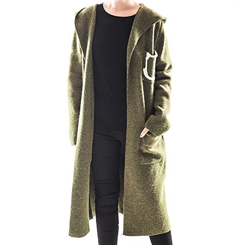 OYEAHGIRL Women Open Front Draped Knit Shawl Cardigan With Big Pockets (Army Green) (Cream Spring Coat)
