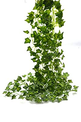 Beebel™ 75-Ft 12 strands Artificial Flowers Fake Hanging Vine Plant Leaves Garland Home Garden Wall Decoration(ivy)