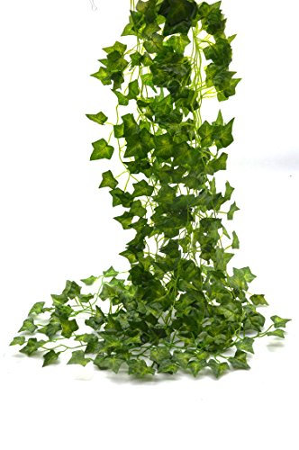 "Beebelâ""¢ 75-Ft 12 strands Artificial Flowers Fake Hanging Vine Plant Leaves Garland Home Garden Wall Decoration(ivy)"