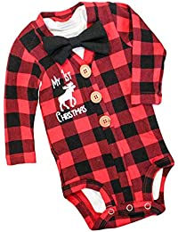 Newborn Baby Boys Girls Christmas Plaid Cardigan Romper...