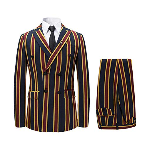 Men's Colored Striped 3 Piece Suit Slim Fit Tuxedo Blazer Jacket Pants Vest Set (Red-DB, Small)