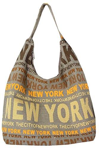 Robin Ruth New York City Cotton Fabric Hobo Shoulder Bag Orange