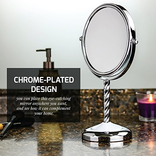 Ovente Round Tabletop Vanity Mirror, 7 Inch, Dual-Sided with 1x/5x magnification, Chrome-Plated Iron, Chrome (MNLBT70CH1X5X) by Ovente (Image #1)