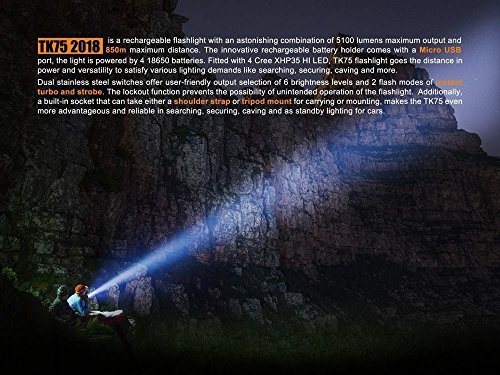 FENIX TK75 5100 Lumen 929 yards beam 2018 Edition CREE LED USB rechargeable Flashlight with Four Fenix rechargeable 18650 Batteries and 4 X EdisonBright CR123A batteries bundle by EdisonBright (Image #4)